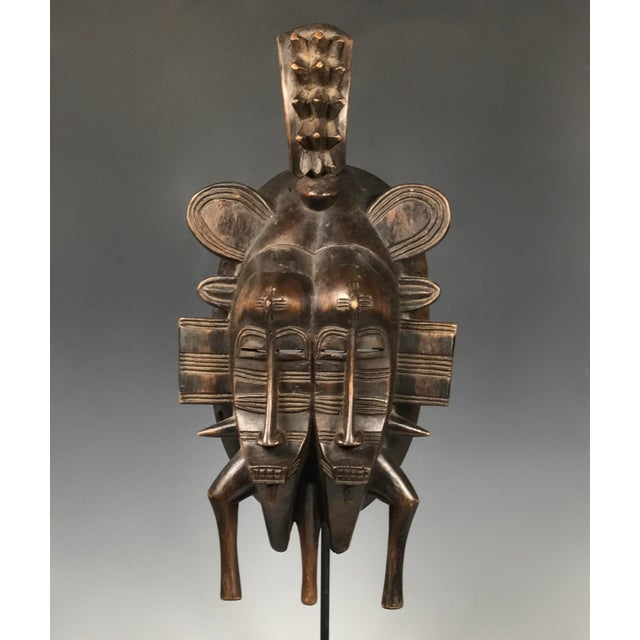 African Art Double Face Senufo Mask For Sale - Image 4 of 7