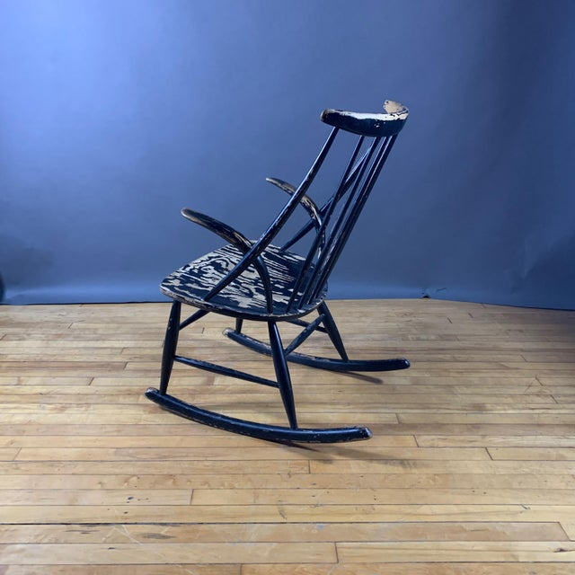 1950s Illum Wikkelsø Ebonized Rocking Chair, 1958 Denmark For Sale - Image 5 of 8