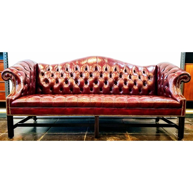 Vintage Burgundy Leather Button Tufted Camel Back Sofa With Antiqued Brass Nailheads For Sale - Image 10 of 10