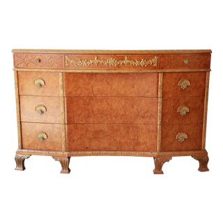 Antique Burled Maple French Carved Dresser by Romweber, Circa 1920s For Sale
