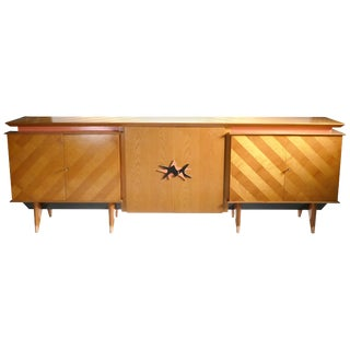 1950s Royère Style French Mid Century Extra Large Modernist Oak Sideboard For Sale