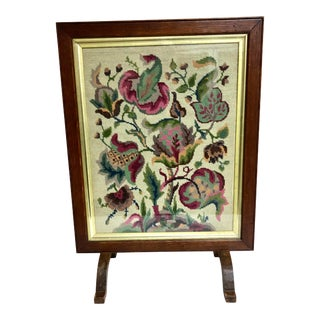 1910s Antique Needlepoint Fire Screen For Sale