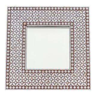 Exquisite Geometric Inlaid Square Mirror For Sale