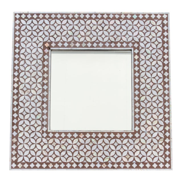 Exquisite Geometric Inlaid Square Mirror For Sale