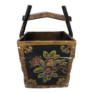 1910s Chinese Painted Water Bucket For Sale