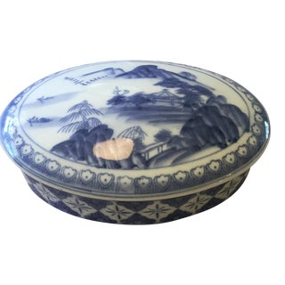 Blue & White Chinoiserie Porcelain Bowl For Sale