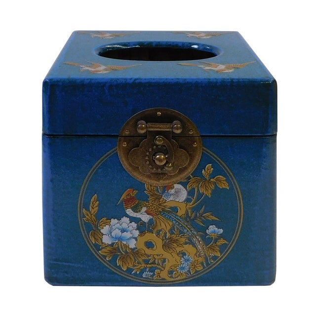Chinese Blue Container or Tissue Box - Image 1 of 5