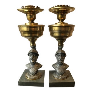 1890s Knight Lamps on Stone Bases - A Pair For Sale