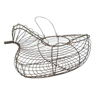 1950s French Country Wire Handled Hen Egg Basket For Sale