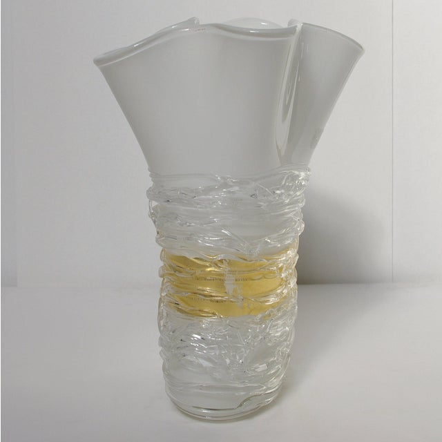 Enrico Cammozzo Murano Italian Murano Glass Vase by Camozzo For Sale - Image 4 of 9