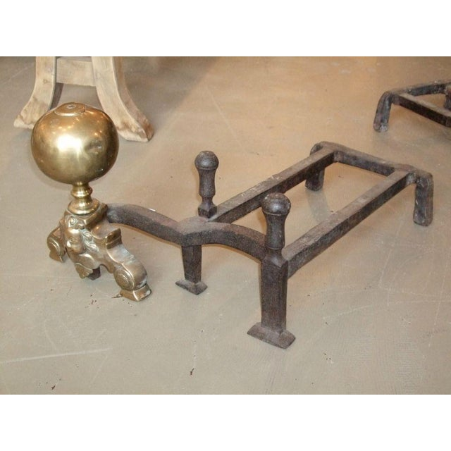 Mid 19th Century 19th Century Double-Arm Andirons - A Pair For Sale - Image 5 of 7
