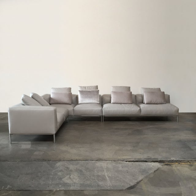 Contemporary B&B Italia 'Frank' Leather Sectional For Sale - Image 3 of 8