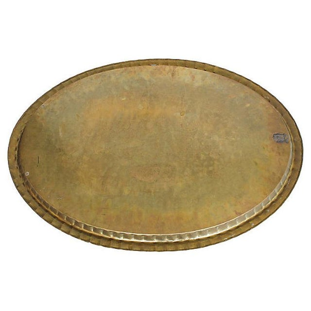 """1950s Mid-Century 30"""" Moroccan Brass Tray For Sale - Image 5 of 6"""