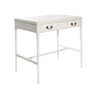 1940s Newly Refinished White Painted Writing Desk/ Vanity by Widdicomb For Sale