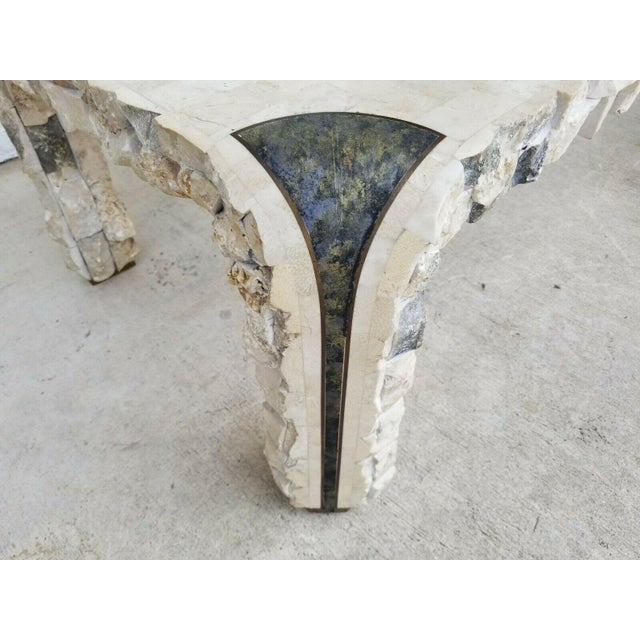 1980s 1980s Maitland Smith Tessellated Mactan Stone + Brass Coffee Table For Sale - Image 5 of 10