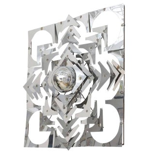 1970s Vintage Mid-Century Modern Polished Chrome Square Wall Sculpture For Sale