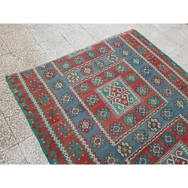Vintage Blue and Red Turkish Kilim Rug 5'7'' X 7'3'' For Sale In Dallas - Image 6 of 13