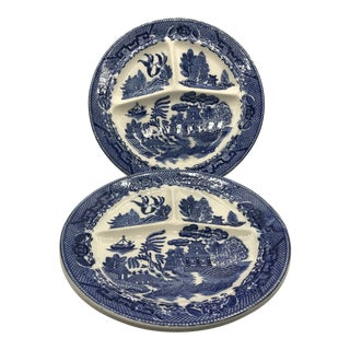 1950s Japanese Blue Willow Transferware Divided Dish Restaurant Plates - a Pair For Sale