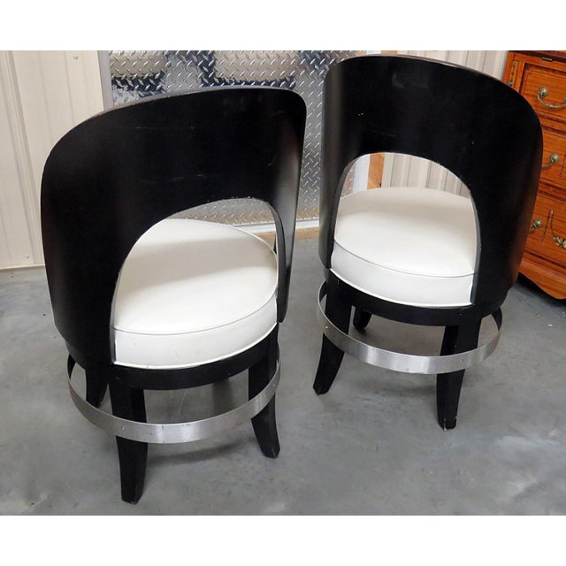 Mid 20th Century Mid-Century Modern Swiveling Club Chairs - a Pair For Sale - Image 5 of 7
