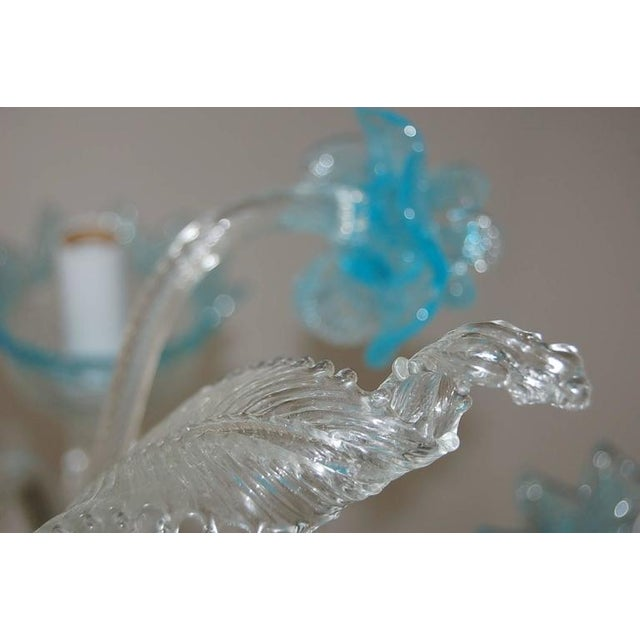 Chandelier Vintage Murano Glass Clear Blue For Sale In Little Rock - Image 6 of 10