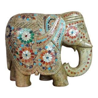 Antique Carved Marble Semi Precious Stone Inlaid Elephant