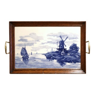 Midcentury French Painted Blue and White Delft Plaque in Wooden Frame Tray For Sale