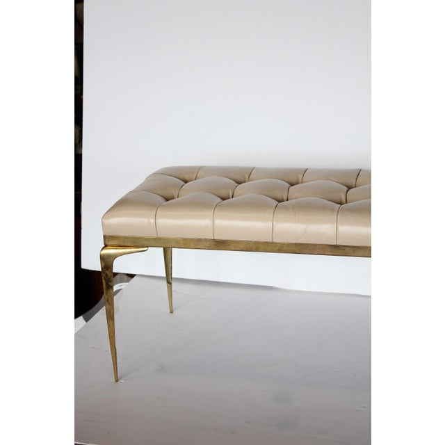 Mid-Century Modern Mid Century Italian Brass and Leather Bench For Sale - Image 3 of 5