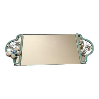 Art Deco Mirror Vanity Tray Floral LAst Call For Sale