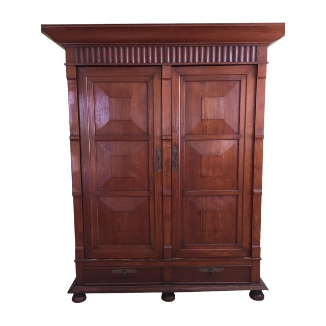 Solid Teak Art Deco Wood Armoire - Image 1 of 7