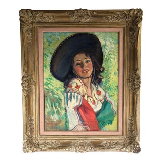 Mid 20th Century Portrait of Woman in Sombrero Oil Painting by Hazel Lavina Roberts, Framed For Sale