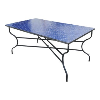 Rectangular Blue Moroccan Mosaic Table - a Pair For Sale