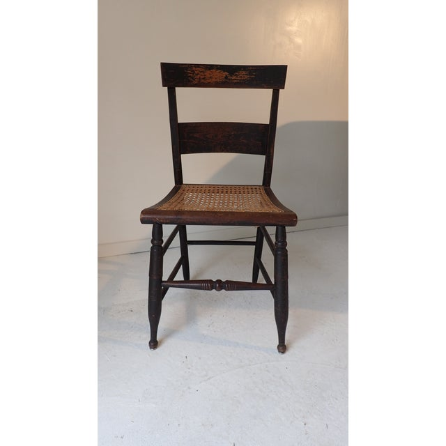 Antique Country Black Caned Chair For Sale - Image 4 of 8