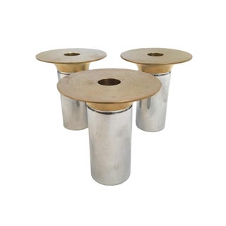 Vintage Brass and Chrome Candle Holders - Set of 3 For Sale