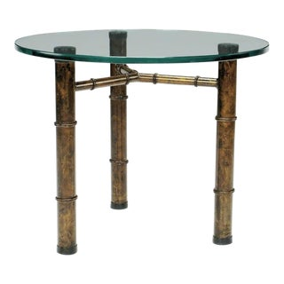 Patinated Gilt Tripod Side Table in Faux Bamboo For Sale