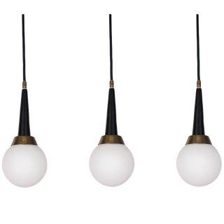 1960s Stilnovo Brass and Glass Pendants