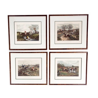 Antique Set of Four Hand Colored Lithographs Forest's Steeple Chase For Sale