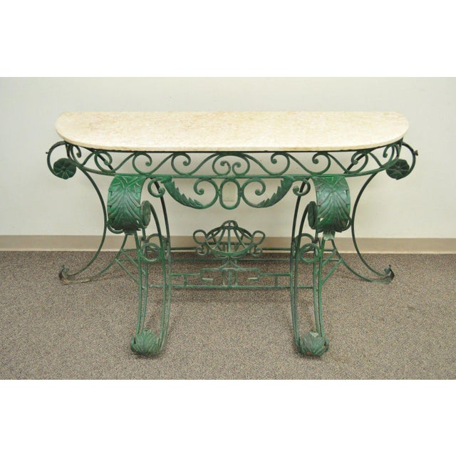 "65"" W Ornate Italian Regency Style Green Wrought Iron Marble Top Console Table - Image 2 of 11"