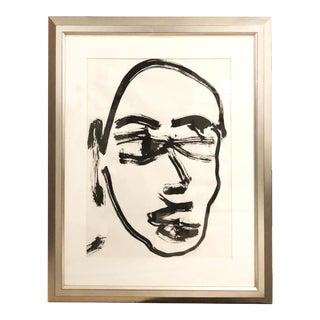 Brainard Carey Self Portrait in Silver Leaf Frame For Sale