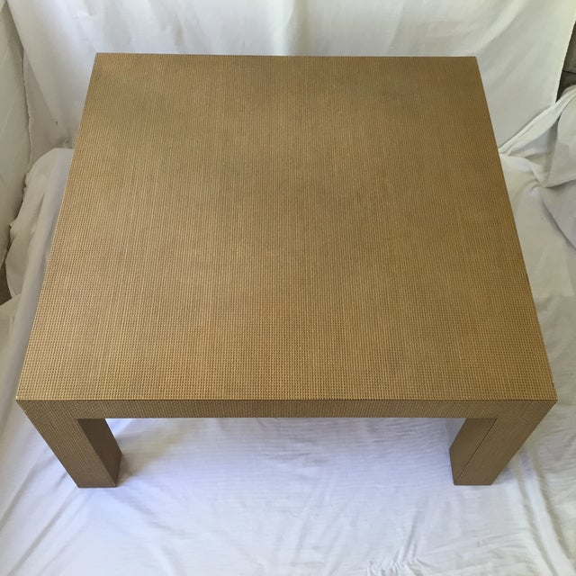Woven Parsons Coffee Table For Sale - Image 4 of 7