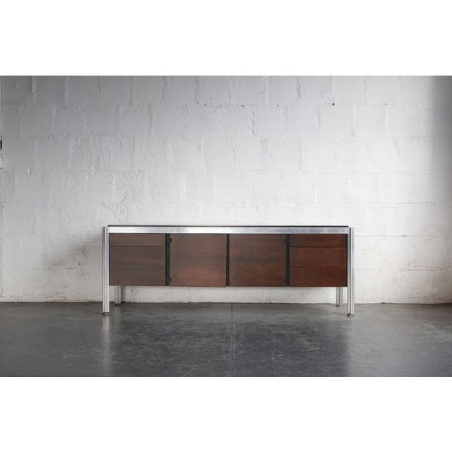 1960s Mid-Century Modern George Ciancimino Rosewood and Cast Aluminum Credenza For Sale - Image 4 of 4