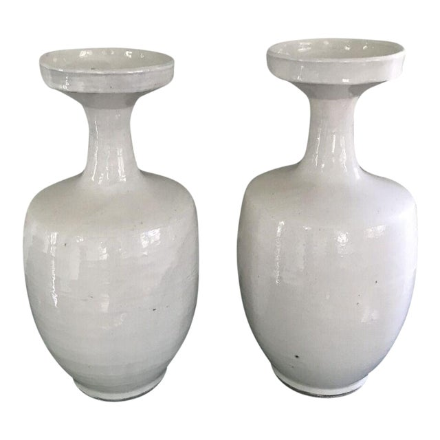 Tall Glazed White Ceramic Urns - A Pair - Image 1 of 6