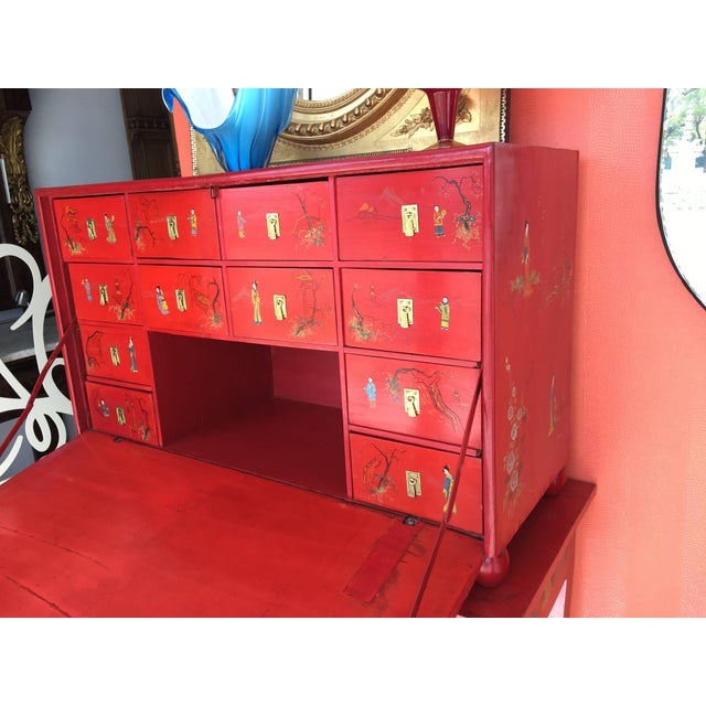 Japanese Style Red Lacquer Fall-Front Chest, 20th Century For Sale - Image 4 of 5
