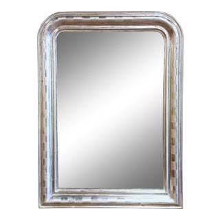 19th Century Louis Philippe Silver Leaf Mirror With Engraved Stripe Decor For Sale