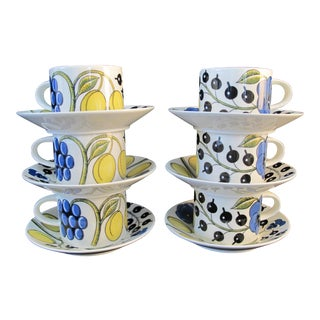 Arabia Finland Paratiisi Fine China Blue Yellow Fruit Design Cup & Saucer Set For Sale