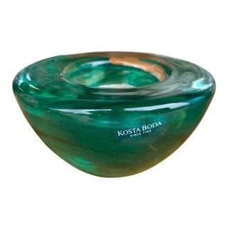 1980s Kosta Boda Green Votive Glass Candles Holders For Sale