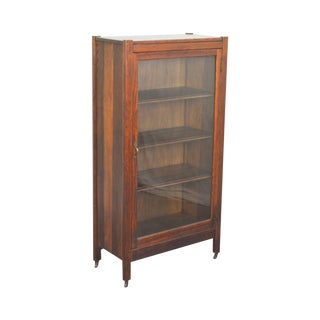 Mission Style Antique Oak One Drawer Bookcase