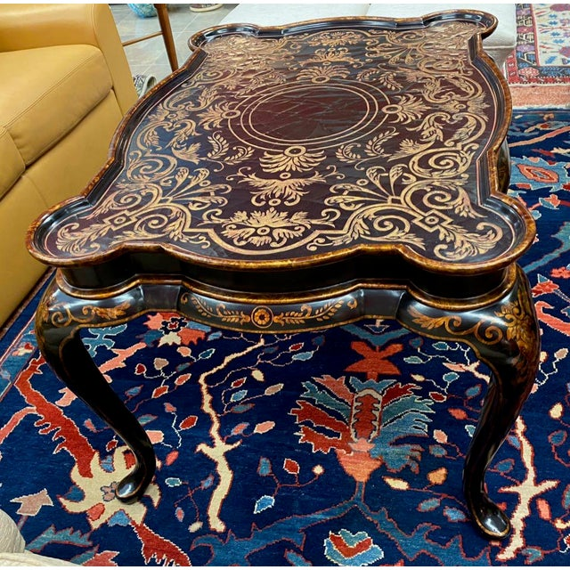 Very decorative Hilda Flack black lacquer coffee table. Fancy, Queen Anne form, Chinoiserie table with rectangular, lobed...