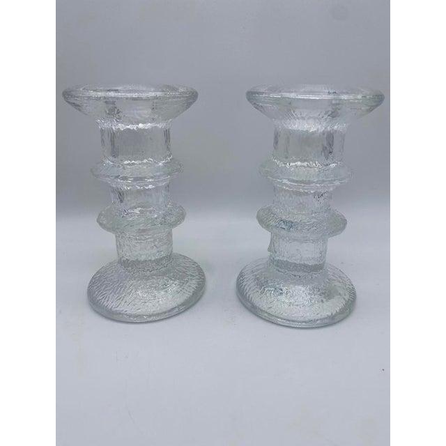 "1970s Mid Century Timo Sarpaneva for Iittalia Glass ""Festivo"" Candlestick Holders - Pair For Sale - Image 5 of 8"