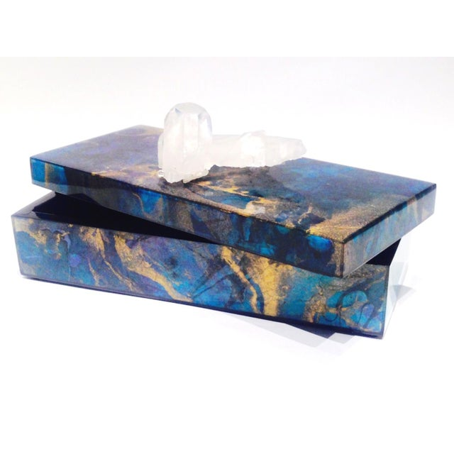 Metallic Marbleized Lacquer Box With Quartz For Sale - Image 4 of 5