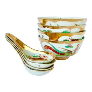 Vintage Chinese Dragon Soup Bowls and Spoons- Set of 8